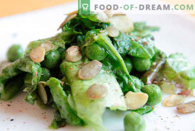 Salade aux pois verts - recettes éprouvées. Comment faire cuire une salade aux petits pois