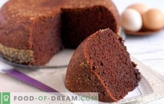 Gâteau éponge au cacao - conte de fées au chocolat! Recettes maison de biscuits au cacao: classique, eau bouillie, kéfir, crème sure aux cerises