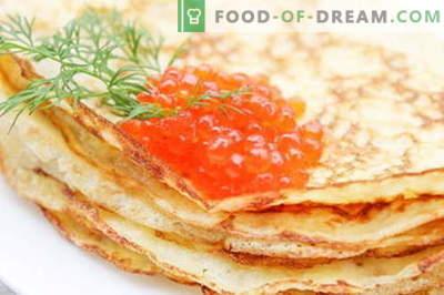 Crêpes pour caviar au caviar - une recette pas à pas avec des photos