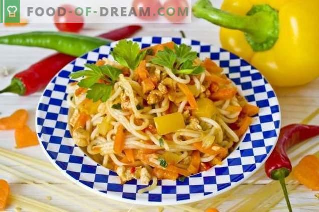 Spaghetti au poulet et légumes