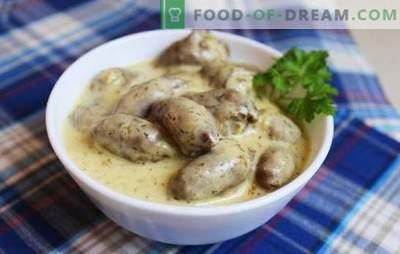 Coeurs de poulet en sauce - une addition douce à l'accompagnement. Comment faire cuire des cœurs de poulet dans une sauce: tomate, crème, crème sure