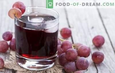 Jus de raisin pour l'hiver à la maison: comment le faire correctement? Les meilleures recettes de jus de raisin pour l'hiver de la poêle ou de la centrifugeuse