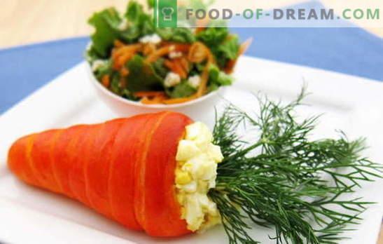 Salade de carottes et d'œufs - une combinaison de goût et d'avantages. Les meilleures recettes pour les carottes et les œufs: simples, originales et feuilletées