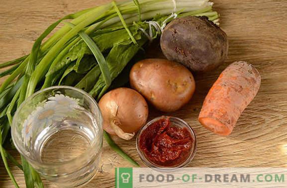Bortsch vert à la pâte de tomates et à la betterave: la recette pas à pas de l'auteur avec une photo. Comment cuisiner la soupe la plus délicieuse d'oseilles et de betteraves à la pâte de tomates - partagez les secrets