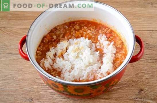 Рајс со мелено месо и зеленчук во доматите: фантазија за рижото на достапните производи. Фото-рецепт за готвење ориз со мелено месо и зеленчук во домат: чекор по чекор