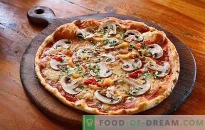 Pizza à la viande hachée et aux champignons: recettes traditionnelles et originales. Pizza maison avec de la viande hachée et des champignons - les meilleures options