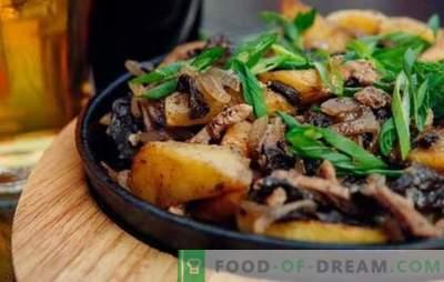 Viande frite avec des oignons dans une poêle à frire - tout le monde est content! Recettes pour la viande frite avec des oignons dans une casserole avec la crème sure et autre sauce
