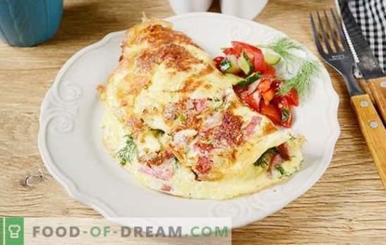 Omelette au fromage et à la saucisse: rien de plus simple! Etape par étape, recette de la photo de l'auteur pour une omelette au fromage et à la saucisse - quel est le secret de la pompe de l'omelette?