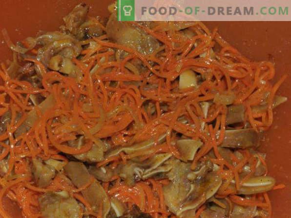 carotte coréenne, recettes à la maison avec du poulet, avec assaisonnement prêt, pour l'hiver