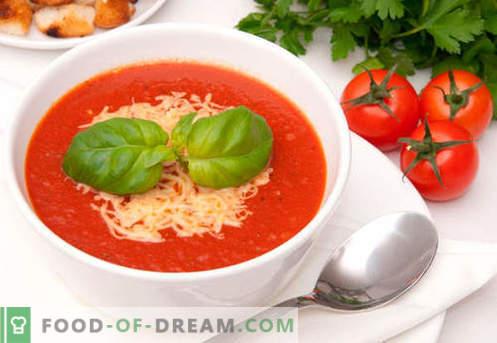 Velouté à la tomate - recettes éprouvées. Comment faire cuire correctement et délicieusement la soupe de purée de tomates.