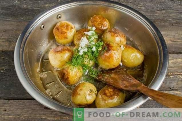 Pommes de terre nouvelles, grillées dans une casserole