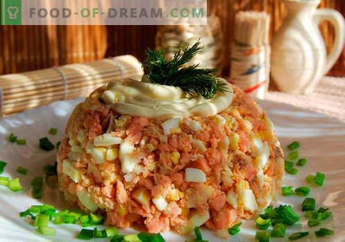 Salade Bossu - recettes éprouvées. Comment faire cuire une salade de saumon rose