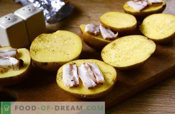 Pommes de terre avec du bacon au four en papier d'aluminium - un goût de l'enfance! Photo-recette détaillée pour la cuisson de pommes de terre avec du lard cuit au four dans du papier d'aluminium