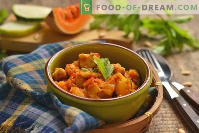 courgettes, potiron et poulet - un ragoût d'automne pour tous les jours
