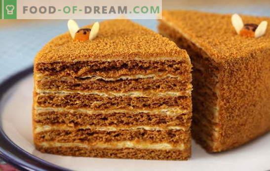 Gâteau au miel avec crème pâtissière - tendre! Simple et complexe, avec lait concentré et crème sure: recettes de gâteaux au miel avec crème anglaise
