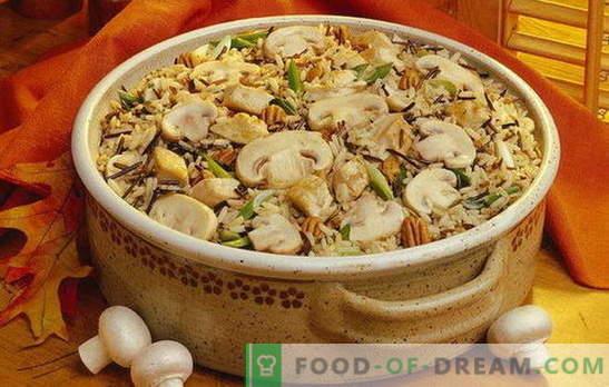 Pilau aux champignons - une profusion d'arômes! Cuisson pilaf friable aux champignons: maigre, avec viande, poulet, sarrasin, raisins secs