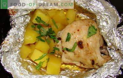 Poulet avec pommes de terre au four en papillote - nouvelles recettes. Comment faire cuire le poulet avec des pommes de terre au four dans du papier d'aluminium