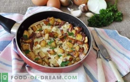 Omelette à l'oignon - un petit-déjeuner savoureux pour toute la famille. Les meilleures recettes pour les œufs brouillés avec des oignons dans une casserole, dans une mijoteuse et un four