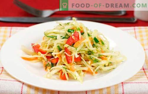 Salade de chou aux poivrons - les meilleures recettes. Cuire une salade avec du chou et du poivron.