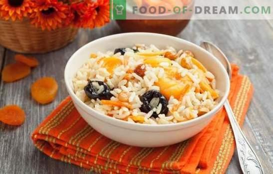 Pilaf aux pruneaux - un régal oriental. Variations de pilaf aux pruneaux et abricots secs, pilaf aux pruneaux, abricots secs et raisins secs