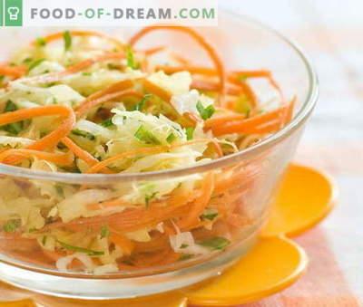 Šviežių morkų ir kopūstų salotos yra penki geriausi receptai. Salotų paruošimas iš šviežių morkų ir kopūstų.