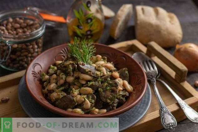 Rognons de boeuf avec haricots - simple salade tiède