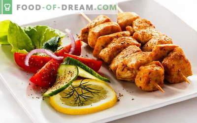 Kebab de poulet - les meilleures recettes. Comment faire cuire des brochettes de poulet.