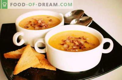 Soupe de purée de pois - familière depuis l'enfance. Recettes simples et originales de purée de soupe aux pois: avec bacon, poitrine, parmesan