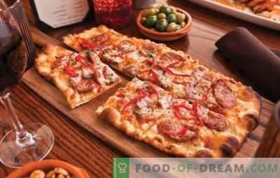 Домашна пица: рецепти со колбаси, домати, печурки, пилешко, краставици. Избор на рецепти за домашна пица