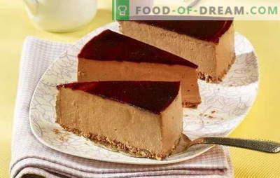 Cheesecake sans cuisson est un délice tentant. Les meilleures recettes pour le gâteau au fromage sans cuisson au mascarpone, fromage cottage, chocolat, Nutella