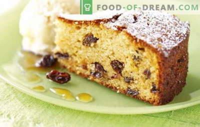 Tarte aux raisins secs - il y a bien un raisin sec! Recettes de gâteaux faits maison avec raisins secs et pommes, noix, abricots secs, riz, fromage cottage