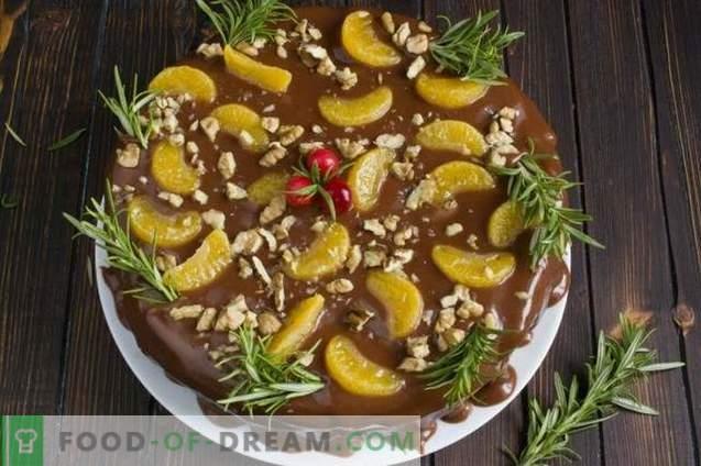 gâteau aux fruits avec crème au chocolat