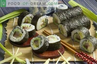 Sushi maki à l'anguille fumée et aux oignons poireaux