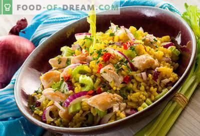 Salade de riz - cinq meilleures recettes. Comment cuire correctement et savoureux salade de riz.