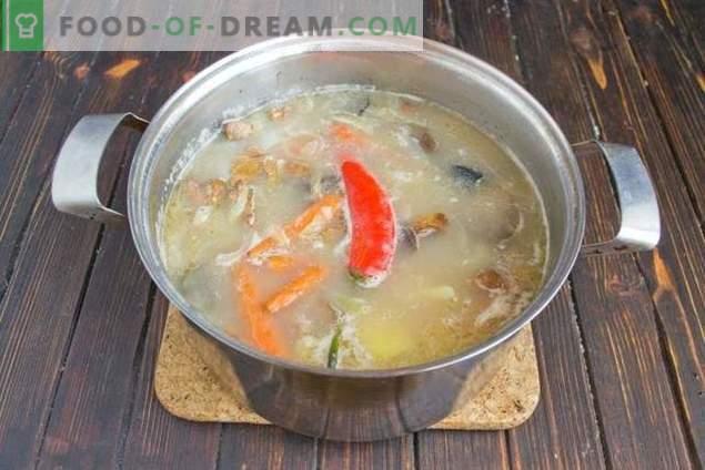 Soupe aux champignons avec haricots et pommes de terre