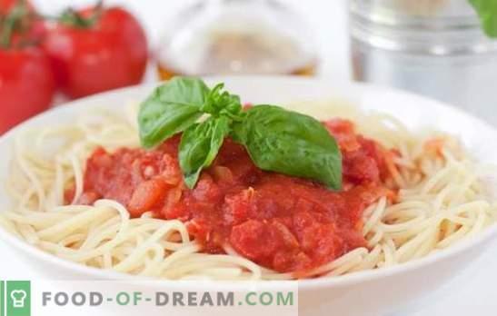 Sauce tomate pour spaghettis - le meilleur moyen de diversifier un plat simple. Une sélection des meilleures recettes de sauce tomate pour spaghettis