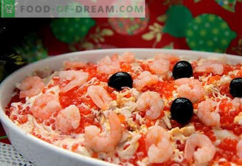 Salade met zalm en kaviaar - de juiste recepten. Snel en smakelijke kooksalade met zalm en kaviaar.