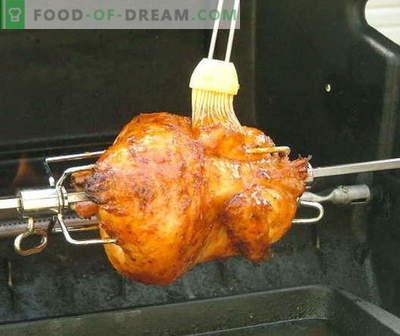 Spit chicken - les meilleures recettes. Comment bien cuire du poulet à la broche