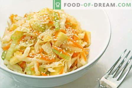 Les salades au chou sont les meilleures recettes. Cuisiner des salades de chou-fleur frais, de chou-fleur et de chou chinois.