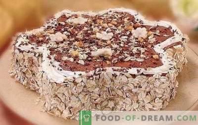 Gâteau à l'avoine pressé! Nous préparons différents gâteaux à partir de biscuits à l'avoine: à la banane, à la cerise, au fromage cottage, à la gélatine, à la crème brûlée