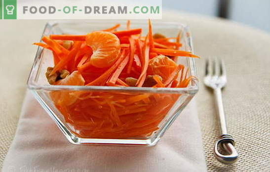 Salades de carottes - recettes simples pour des collations ensoleillées! Salades de carottes simples avec viande, pommes, noix, légumes