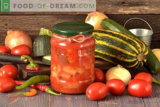 Zucchini lecho avec poivrons, tomates et oignons pour l'hiver