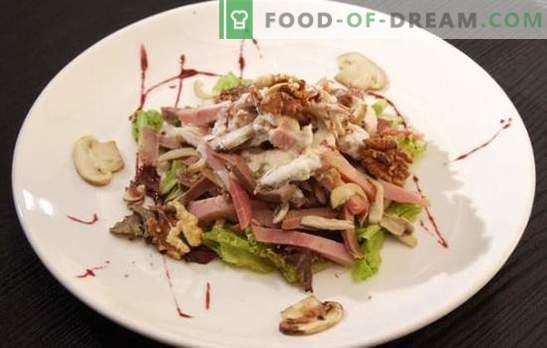 La salade au jambon et aux champignons est un excellent apéritif festif. Les meilleures recettes de salades au jambon et aux champignons: simples et feuilletées