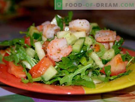 Salades à la roquette et aux crevettes - les cinq meilleures recettes. Comment préparer correctement et délicieusement des salades à la roquette et aux crevettes.