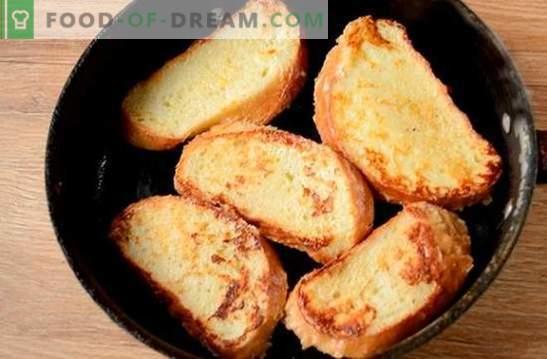 Croûtons au lait dans un œuf: collation dans cinq minutes! Comment faire cuire des croûtons avec du lait dans un œuf: une photo-recette pas à pas