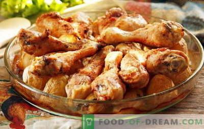 Pilons de poulet avec pommes de terre au four - recettes préférées. Cuisson des pilons de poulet avec des pommes de terre au four de différentes manières
