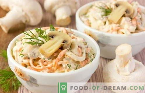 Les meilleures recettes sont les salades de poulet et de champignon. Comment faire cuire correctement et délicieusement une salade de poulet aux champignons.