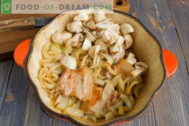 Poitrine de porc avec compote de chou et champignons