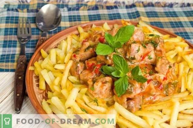 Azu à la mode tatare avec des cornichons et des pommes de terre