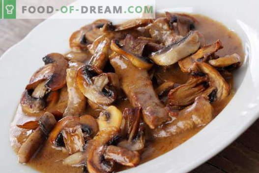 Viande aux champignons - les meilleures recettes. Comment bien et savoureux cuire la viande avec des champignons.